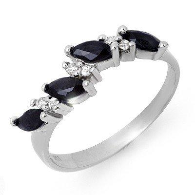 Genuine 0.80 ctw Sapphire & Diamond Ring 10K White Gold