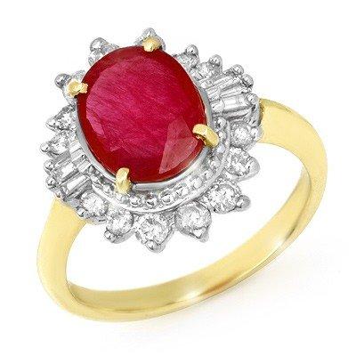 Genuine 4.5 ctw Ruby & Diamond Ring 14K Yellow Gold