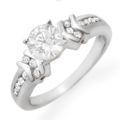 Natural 1.10 ctw Diamond Ring 14K White Gold