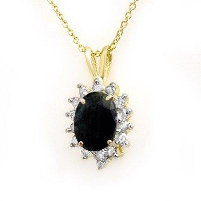 Genuine 1.0 ctw Sapphire & Diamond Pendant Yellow Gold