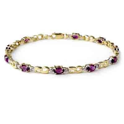 Genuine 2.03 ctw Amethyst & Diamond Bracelet 10K Gold