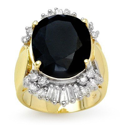 Genuine 16.85 ctw Sapphire & Diamond Ring Yellow Gold