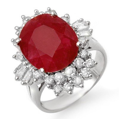 Genuine 6.30 ctw Ruby & Diamond Ring 14K White Gold