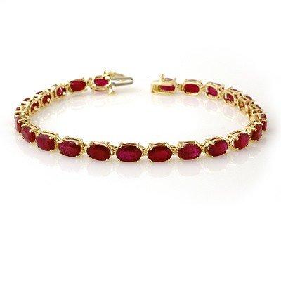 Genuine 16 ctw Ruby Bracelet 10K Yellow Gold
