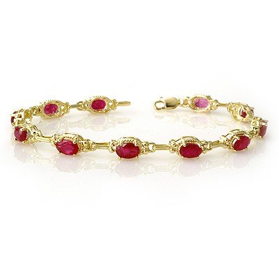 Genuine 8.50 ctw Ruby Bracelet 10K Yellow Gold