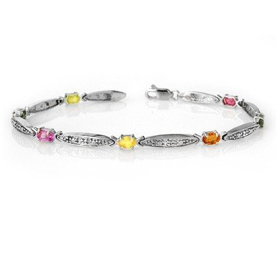 Genuine 3.07 ctw Multi-Sapphire & Diamond Bracelet Gold