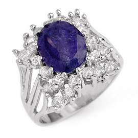 Genuine 4.44ctw Tanzanite & Diamond Ring 14K White Gold