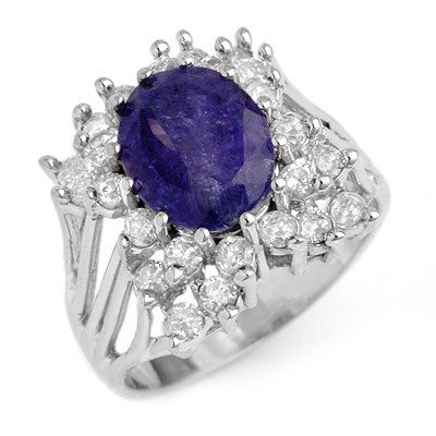 Genuine 4.44ctw Tanzanite & Diamond Ring 14K White Gold