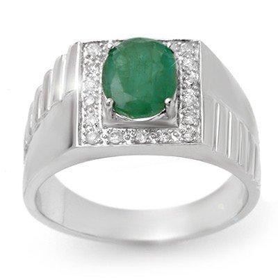 Genuine 2.25 ctw Emerald & Diamond Men's Ring 10K Gold