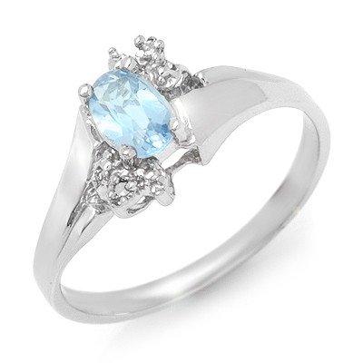 Genuine 0.52 ctw Blue Topaz & Diamond Ring White Gold