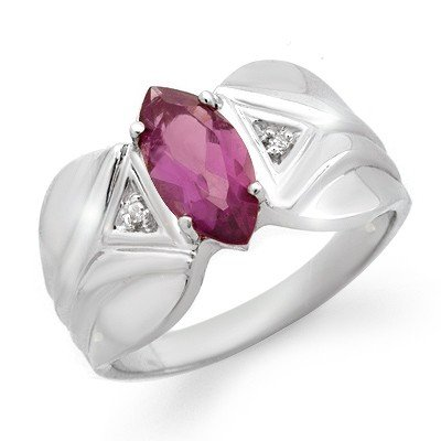 Genuine 1.08 ctw Amethyst & Diamond Ring White Gold