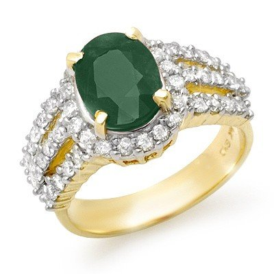 Genuine 4.0 ctw Emerald & Diamond Ring 14K Yellow Gold