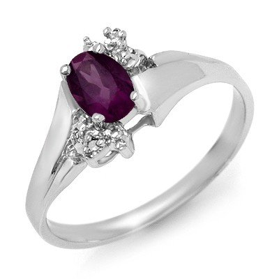 Genuine 0.55ctw Amethyst & Diamond Ring 10K White Gold