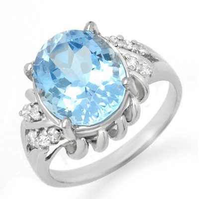 Genuine 5.22 ctw Blue Topaz & Diamond Ring 10K Gold