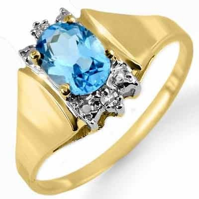 Genuine 1.03 ctw Blue Topaz & Diamond Ring 10K Gold