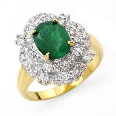 Genuine 3.31 ctw Emerald & Diamond Ring 14K Yellow Gold