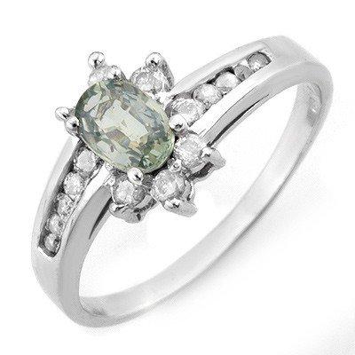 Genuine 1.08 ctw Green Sapphire & Diamond Ring Gold - R