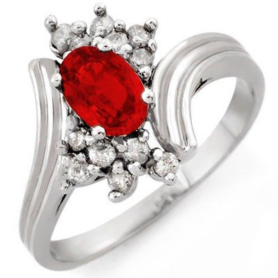 Genuine 1.0 ctw Red Sapphire & Diamond Ring 10K Gold -