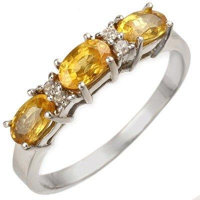 Genuine 1.33 ctw Yellow Sapphire & Diamond Ring Gold -