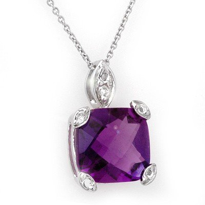 Genuine 5.10 ctw Amethyst & Diamond Necklace 14K Gold -