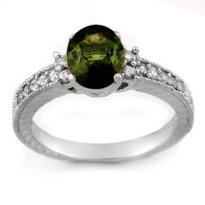 Genuine 2.17 ctw Green Tourmaline & Diamond Ring Gold -