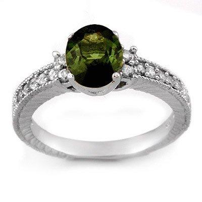 Genuine 2.17 ctw Green Tourmaline & Diamond Ring Gold -