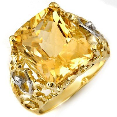 Genuine 10.03 ctw Citrine & Diamond Ring 10K Yellow Gol