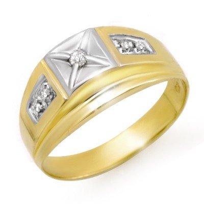 Natural 0.12 ctw Diamond Men's Ring 10K Yellow Gold * M