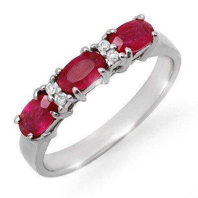 Genuine 1.09 ctw Ruby & Diamond Ring 10K White Gold * M