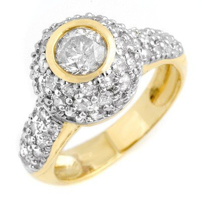 Natural 2.20 ctw Diamond Ring 14K Yellow Gold * MSRP $6