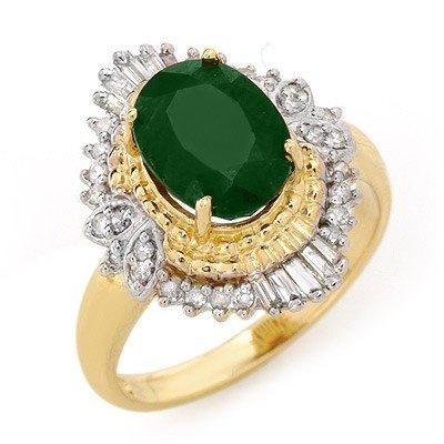 Genuine 2.58 ctw Emerald & Diamond Ring 14K Yellow Gold
