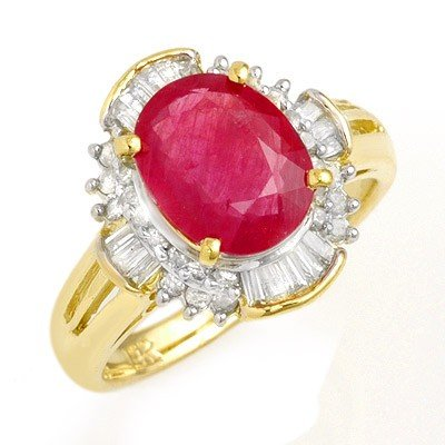Genuine 3.83 ctw Ruby & Diamond Ring 14K Yellow Gold *