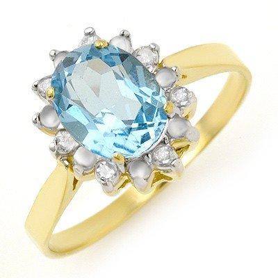 Genuine 1.69 ctw Blue Topaz & Diamond Ring 10K Gold * M