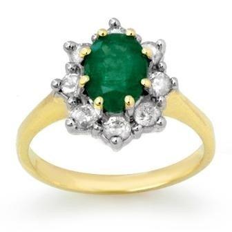 Genuine 2.02 ctw Emerald & Diamond Ring 14K Yellow Gold
