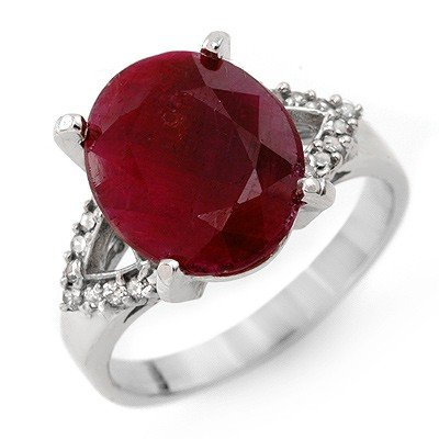 Genuine 6.50 ctw Ruby & Diamond Ring 10K White Gold * M
