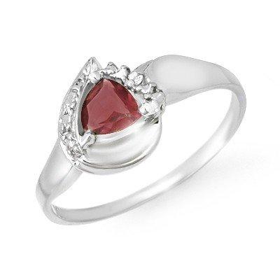 Genuine 0.60 ctw Garnet & Diamond Ring 10K White Gold *