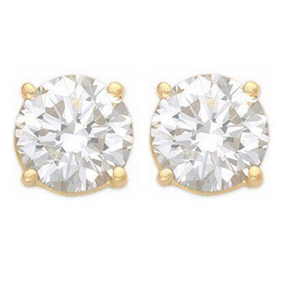 Natural 2.50 ctw Diamond Stud Earrings 14K Yellow Gold