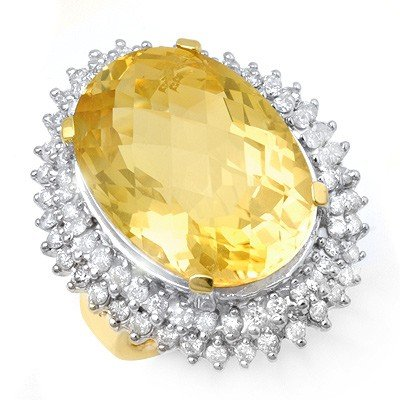 Genuine 37.75 ctw Citrine & Diamond Ring 14K Yellow Gol