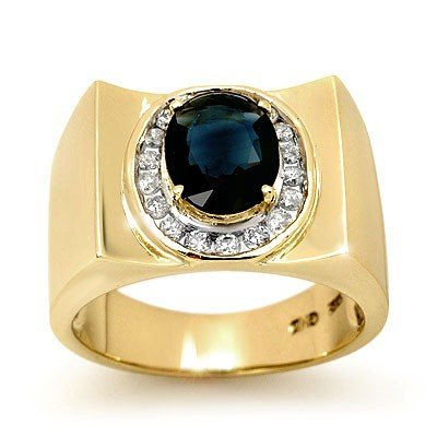 Genuine 2.33 ctw Sapphire & Diamond Men's Ring 10K Gold