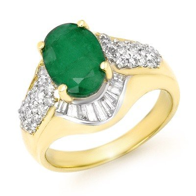 Genuine 2.57 ctw Emerald & Diamond Ring 14K Yellow Gold