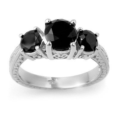 Natural 2.50 ctw Black Diamond Ring 14K White Gold * MS