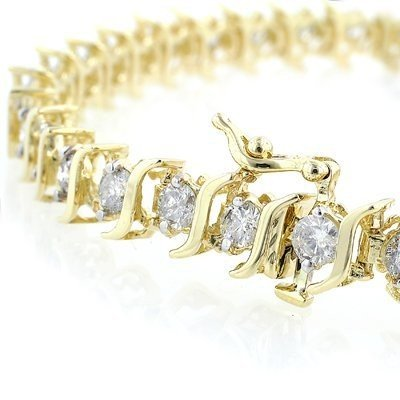 Natural 3.0 ctw Diamond Bracelet 10K Yellow Gold * MSRP