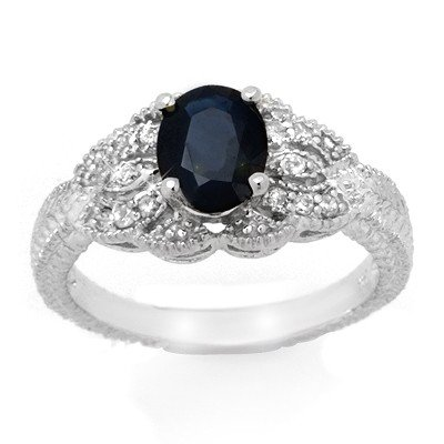 Genuine 1.95ctw Sapphire & Diamond Ring 14K White Gold