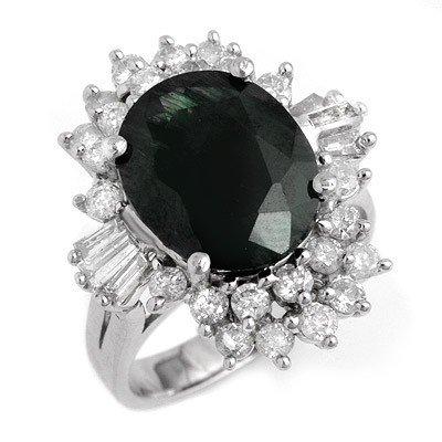 Genuine 9.51 ctw Sapphire & Diamond Ring 14K White Gold