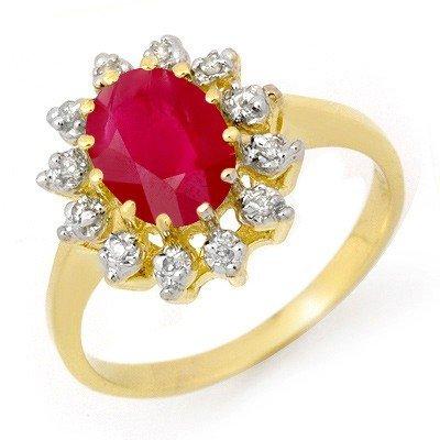 Genuine 1.22 ctw Ruby & Diamond Ring 10K Yellow Gold *