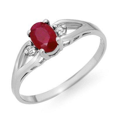 Genuine 0.77 ctw Ruby & Diamond Ring 10K White Gold * M
