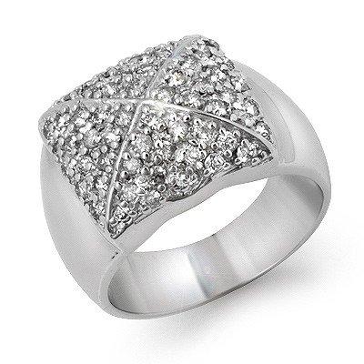 Natural 1.0 ctw Diamond Bridal Ring 14K White Gold * MS