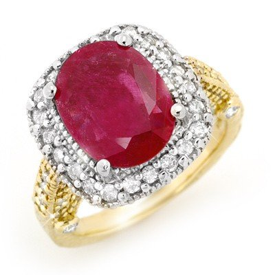 Genuine 9.40 ctw Ruby & Diamond Ring 14K 2tone Gold * M