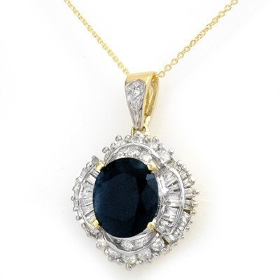 Genuine 6.53 ctw Sapphire & Diamond Pendant 14K Gold *