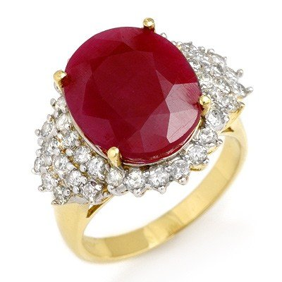 Genuine 8.32 ctw Ruby & Diamond Ring 14K Yellow Gold *
